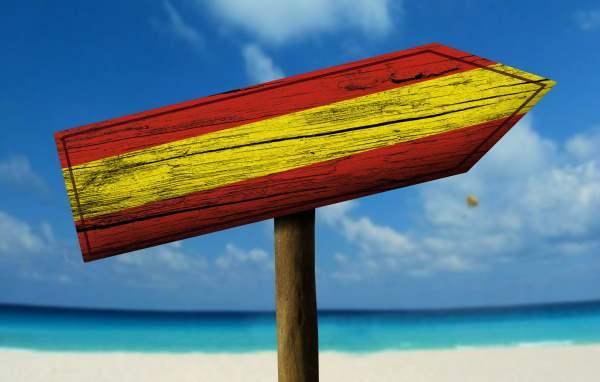 Flag of Spain on a beach